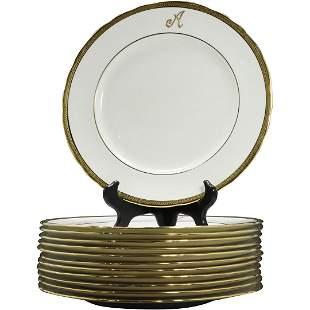 [12] Aynsley England White Porcelain Dinner Plates Gold