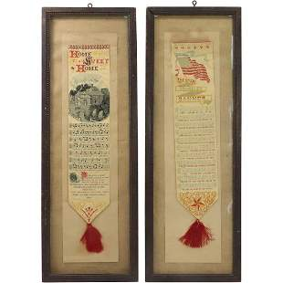 [2] Two Framed Vintage Song Banners