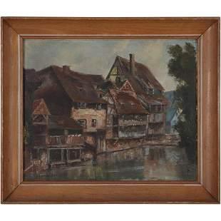 Alfred Bachmann 1863-1956 O/b Lake Boathouse Village