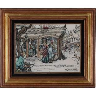 Anton Pieck, Engraved Art Plaque Framed Antiques Shop