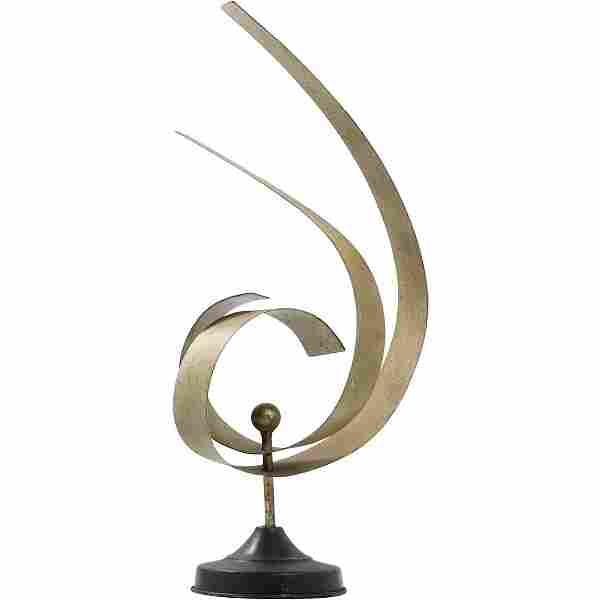 Mid-Century Modern Gilt Metal Swirl Ribbons Sculpture