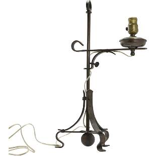 Circa 1930s Wrought Iron Adjustable Table Lamp