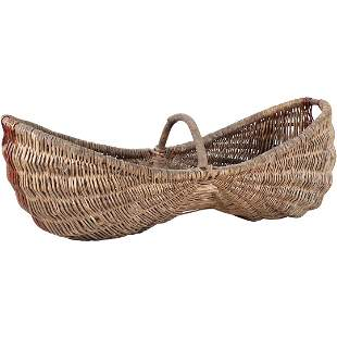 Antique French Hand Woven Harvest Basket
