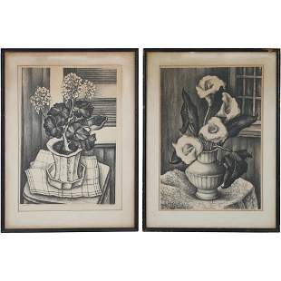 Ethel L. Smul(Smull); Pair Original Lithographs Signed