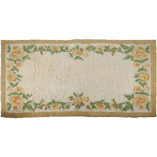 Hand Hooked Wool Area Size Rug with Floral Border