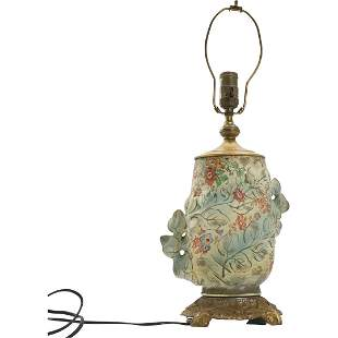 Vintage Porcelain Table Lamp Flowers and Outside Leaves