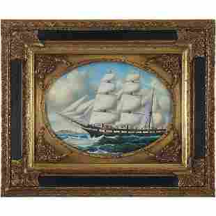 after W Webb 1875, Fine 20th C. Clipper Ship Oil/c