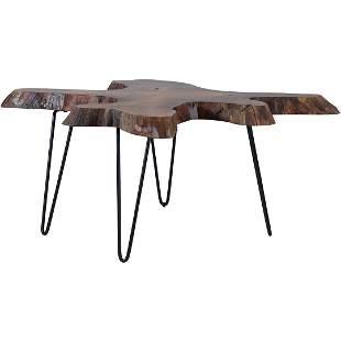 Organic Slab Wood Coffee Table with Iron Hair Pin Legs