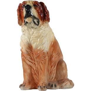 Large 24 inch Saint Bernard Ceramic Dog Figure Vintage