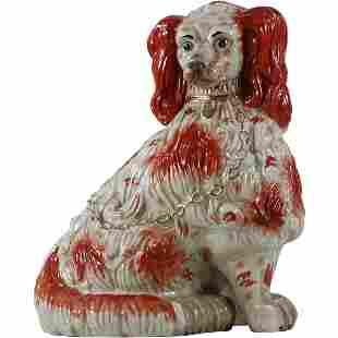 Large Staffordshire Porcelain French Dog Figure 24 inch