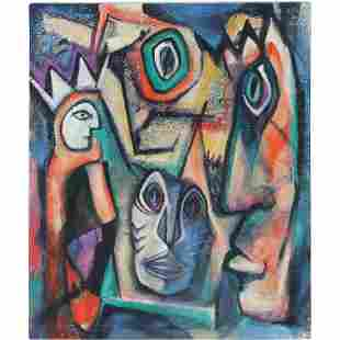 Susan Reingold, Oil Painting Abstract Jester Figures