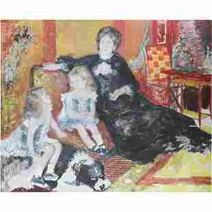 after Renoir, 20th C Large Oil Painting Family Interior