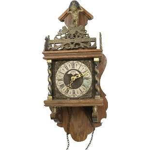 Dutch Warmink Wall Clock with Atlas Figure at Crest