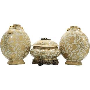 3 Pcs Chinese Porcelain White Gold 2 Vases Covered Bowl