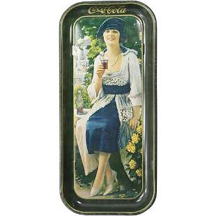 Coca Cola Tin Tray with Woman - Decorative Memorabilia