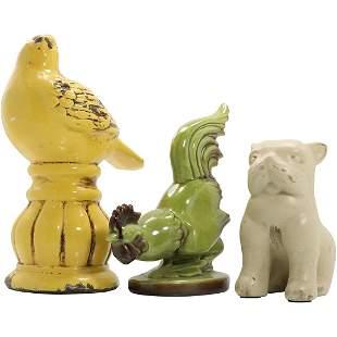 3 Vintage Ceramic Animal Figures: Dove, Rooster, Dog