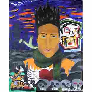 Large Oil Painting Portrait of JEAN-MICHEL BASQUIAT