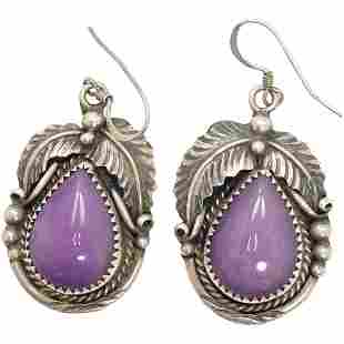 Sterling Purple Amethyst Drop Earrings Native American