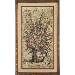 W F Stevens, O/c Mid-Century Still Life Flowers in Vase