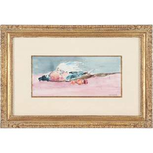 Seymour Remenick, American, Watercolor Still Life Game