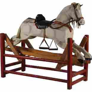 Wooden Saddled Rocking Horse All Complete - Primitive
