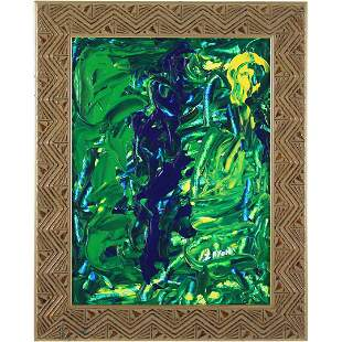 Seymour Zayon, Oil/b Painting Green Abstract