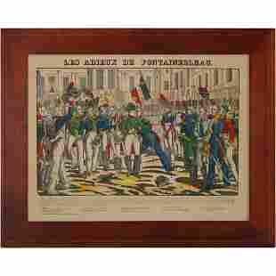 Les Adieux De Fontainebleau Colored Engraving