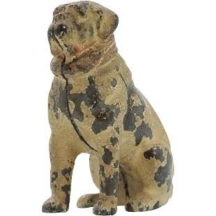 Antique Cast Iron PUG DOG Still Bank