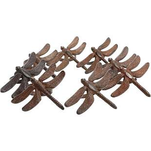 [8] Cast Metal Dragonfly Figure Napkin Rings