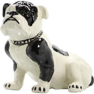 Large Vintage Ceramic Pug Dog Figure Statue Black White