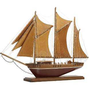 Vintage Sail Ship Model Boat with Wooden Sails