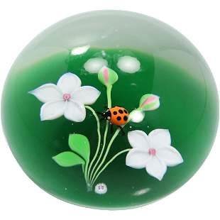 BACCARAT France Signed Paperweight Internal Lady Bug