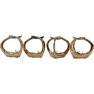 [4] Mid -Century Danish Design Bronze Candle Holders
