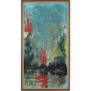 Mid-Century Modern Abstract Boats Signed Illegible