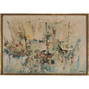 Khosrow, Iranian Artist, Vintage Oil/c Abstract Boats