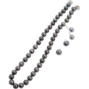 Tahitian Pearl Necklace [2] Pair Tahitian Pearl Earring