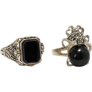 [2] Sterling Silver Rings Victorian Cameo; Black Spider