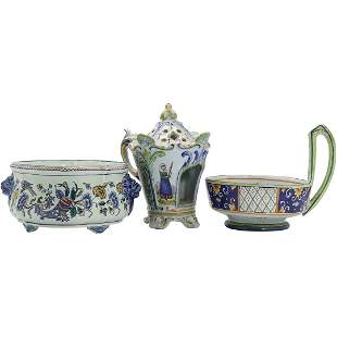 [3] Gien French Faience Hand Painted 2 Bowls, Tea Pot