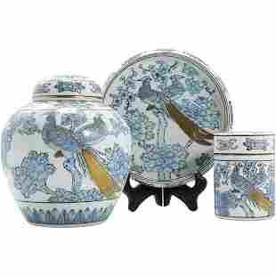 Gold Imari 3 Pc Porcelain Set Exotic Birds