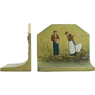 """K&O Co. Vintage Cast Metal Bookends """"Thankful Farmers"""""""