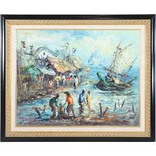 Muk Lis, Oil/b Painting, Vietnamese Village Seacoast