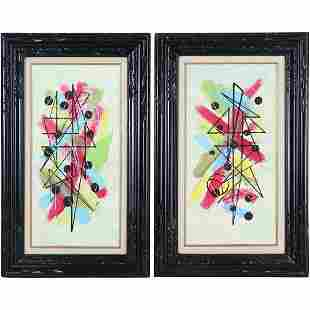 Pair 20th C. Colorful Geometric Abstract Oil Paintings
