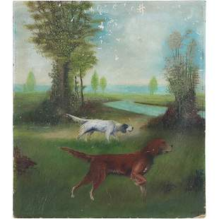 J Kester; 1900s Oil Painting Hunting Dogs in Landscape