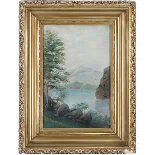 19th C. Oil Painting Hudson River New York