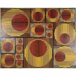 M Manso, Optical Art Abstract Mid-Century Oil Painting