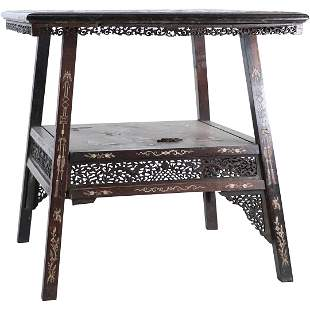 Antique Chinese Asian Inlaid Dragon Temple Stand