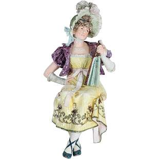 Victorian Majolica Large Fashion Woman Sits on Table