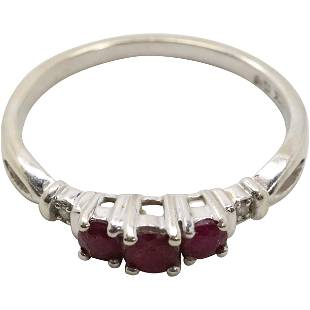 14K White Gold Rubies and Diamonds Ring Size 7