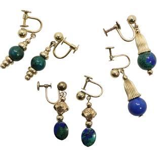 3 Pairs Earrings [2] 14K & Malachite; [1] 14KGF Lapis
