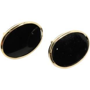 14K Yellow Gold and Black Onyx Pierced Earrings.